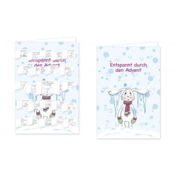 Entspannt durch den Advent Adventskalender Doppelkarte - mit aufgeklappten Türchen.