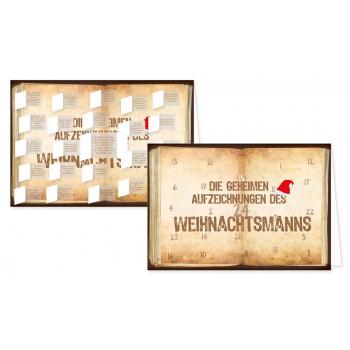 Postkarten Adventskalender | Die geheimen Aufzeichnungen des Weihnachtsmanns - mit aufgeklappten Türchen.