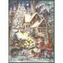 Doppelkarte Adventskalender | Winterszene mit Kindern und rehen