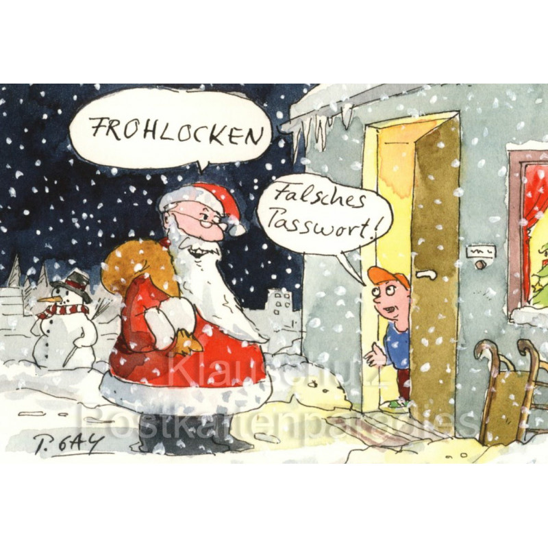 Frohlocken Falsches Passwort | Gaymann Weihnachtsmann Postkarte
