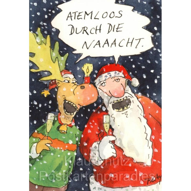 Atemlos durch die Nacht | Postkarte Weihnachten von Peter Gaymann
