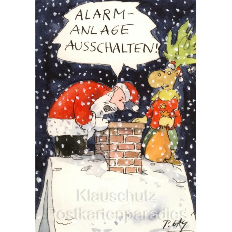 Peter Gaymann Weihnachtskarte - Alarmanlage abschalten