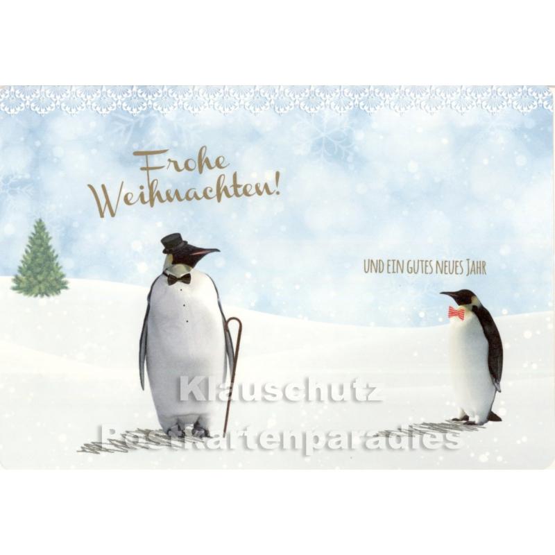 frohe weihnachten klappkarte mit pinguinen. Black Bedroom Furniture Sets. Home Design Ideas