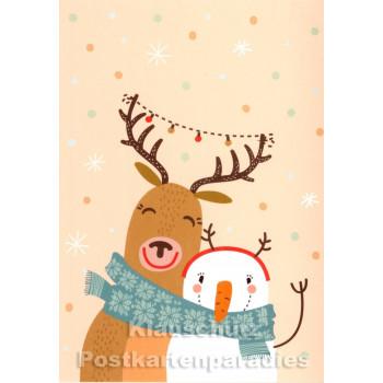 Schneemann und Elch Weihnachtskarte