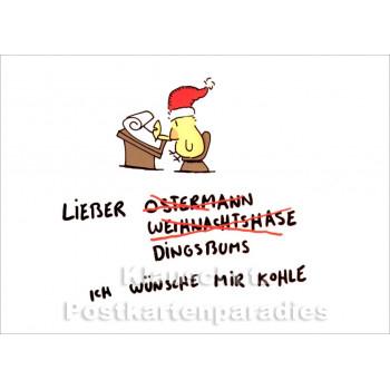 Ostermann und Weihnachtshase Weihnachtskarte