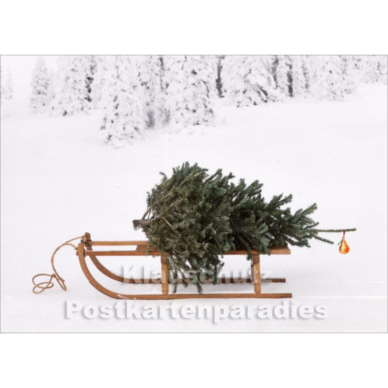 Schlitten mit Weihnachtsbaum Postkarte