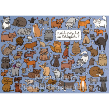 Katze Schlappohr - Wimmelbild Postkarte