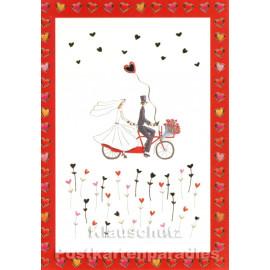 Postkarten Hochzeit | Paar auf dem Tandem