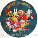 Runde Postkarten | Happy Birthday mit Monstern