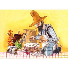 Pettersson und Findus machen Pfannkuchentorte - Taurus Postkarte