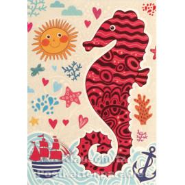 Sonniges Seepferdchen - SkoKo Küsten Postkarte