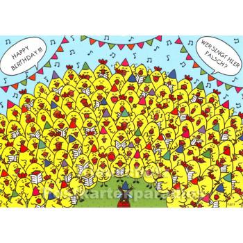 Happy Birthday - Wer singt hier falsch? | Wimmelbild Postkarten