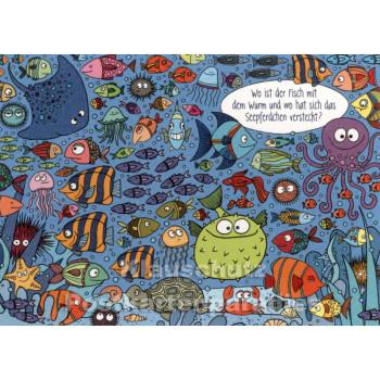 Wo ist der Fisch | Wimmelbild Postkarte von SkoKo