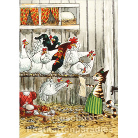 Pettersson Postkarte | Findus im Hühnerstall