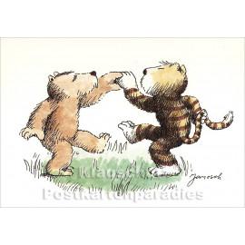 Janosch Karte | Bär und Tiger tanzen