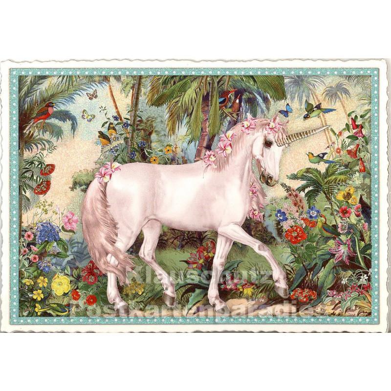 Nostalgische Retro Glitterkarte Einhorn