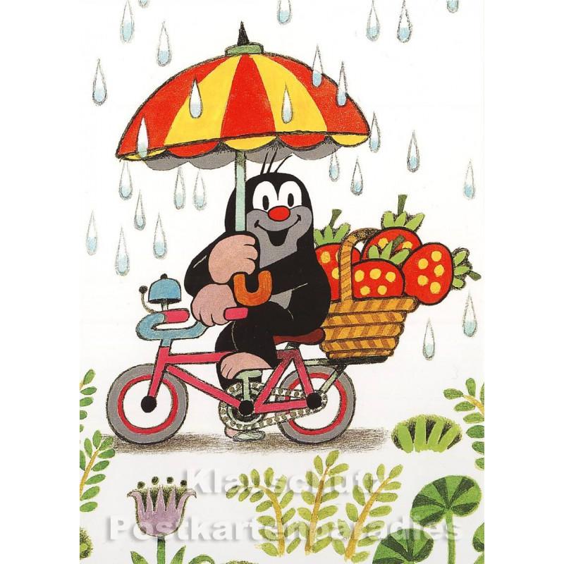 Der kleine Maulwurf bei der Erdbeerernte | Postkarte