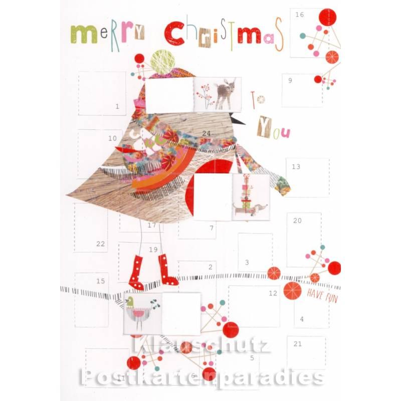 Adventskalender Doppelkarte Merry Christmas Vogel