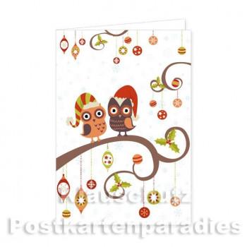 Doppelkarte Weihnachten - Weihnachtseulen