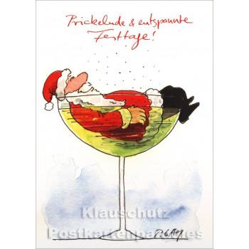 Prickelnde Festtage! Peter Gaymann Weihnachtskarte