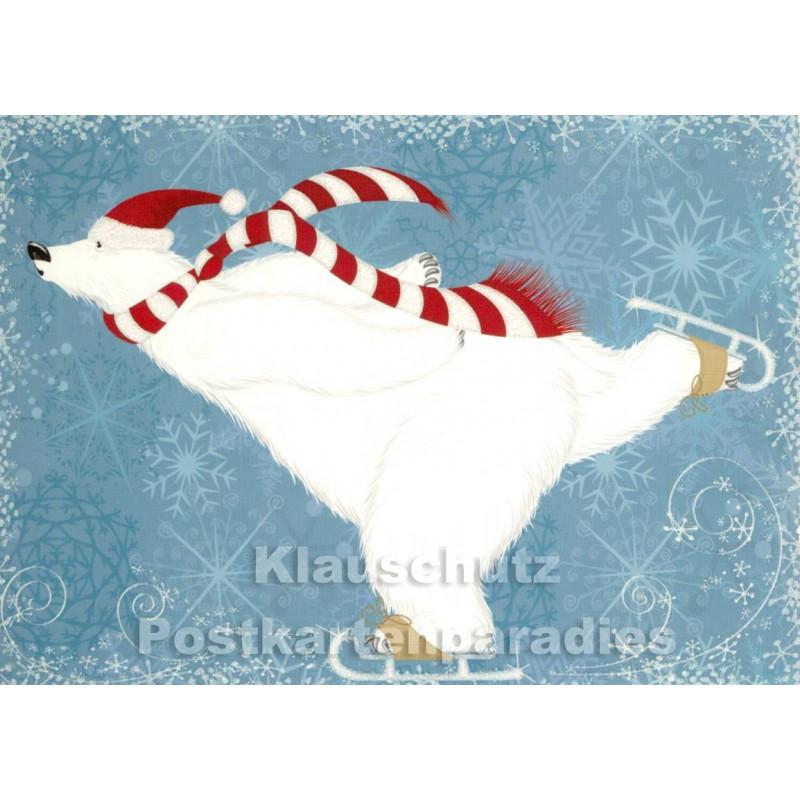 Weihnachtskarte mit Eisbär, der Schlittschuh fährt