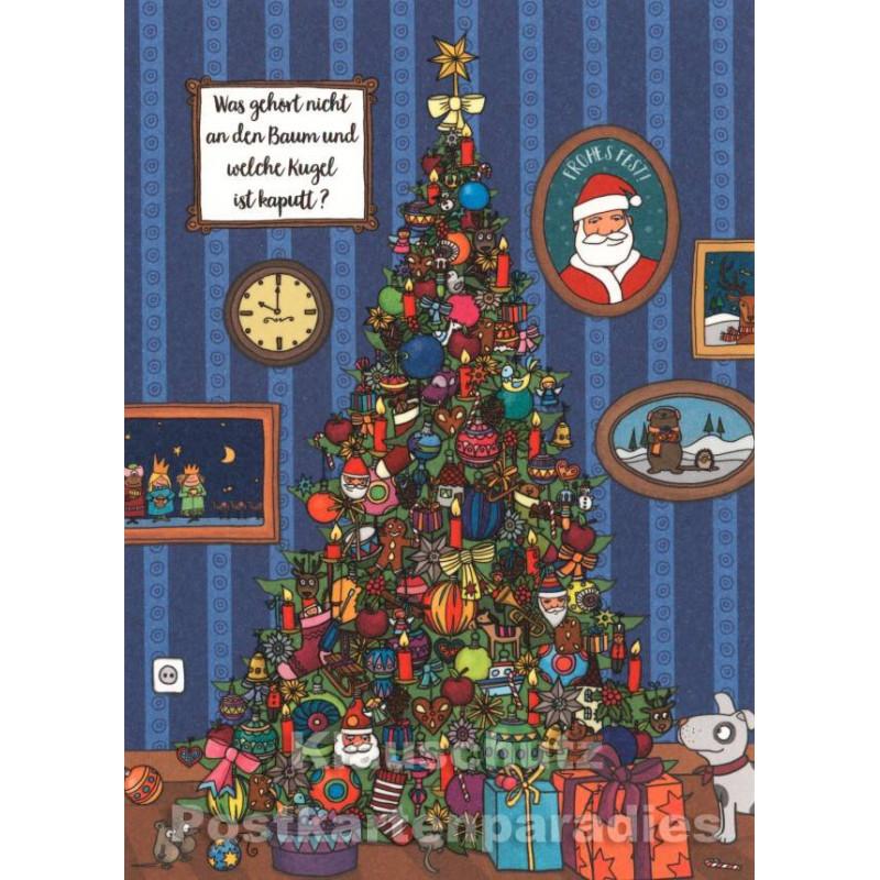Weihnachtsbaum Kugel | Wimmelbild Postkarte