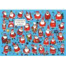 Weihnachtskarte mit Weihnachtsmännern | Wimmelbild Postkarte