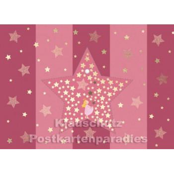Rosa Cityproducts Weihnachtskarte Engel - mit Stern zum Aufhängen