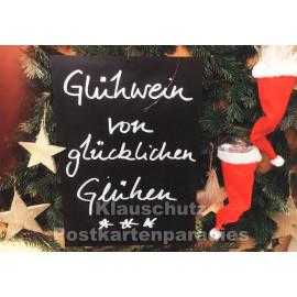 Glühwein von glücklichen Glühen | Lustige Weihnachtspostkarte
