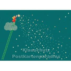 Weihnachtskarte mit Engel der Sterne putzt