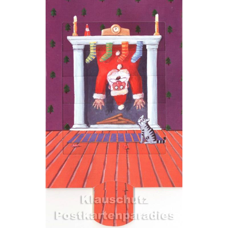 Lebende Karte - Weihnachtsmann im Kamin