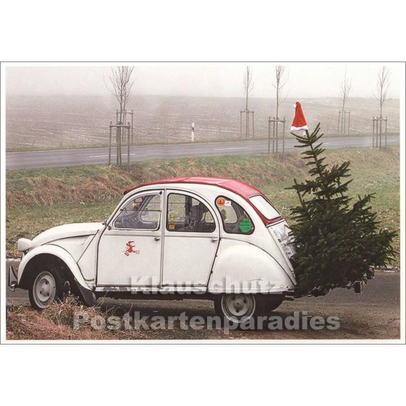Weihnachtskarte mit Weihnachtsente (Auto)