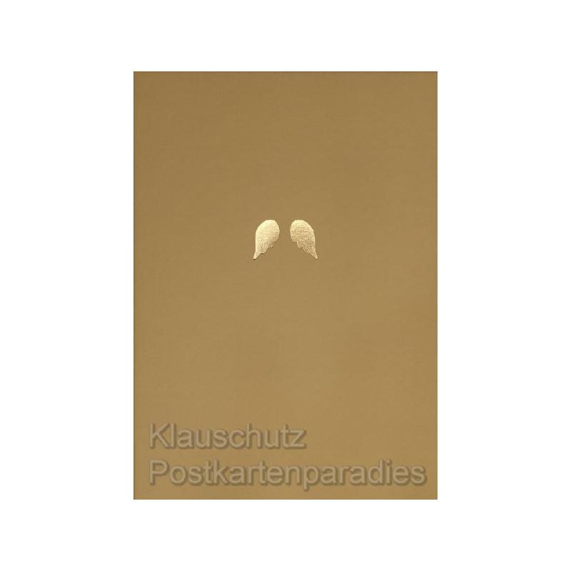Engelsflügel - Goldfarbene Postkarte von Cityproducts zu Weihnachten