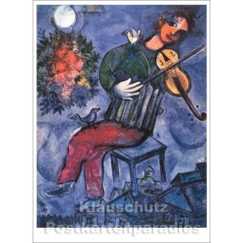 Marc Chagall - Der blaue Geiger | Kunst Postkarte