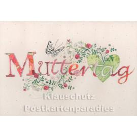 Doppelkarte | Glückwunschkarte zum Muttertag mit Schmetterling