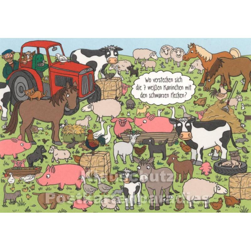 Wimmelbild Postkarte mit Kaninchen