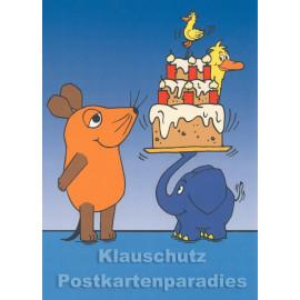 Die Maus und der Elefant feiern Geburtstag | Geburtstagskarte