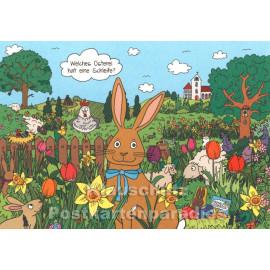 Wimmelbild Postkarte zu Ostern mit Ostereiern und Osterhasen