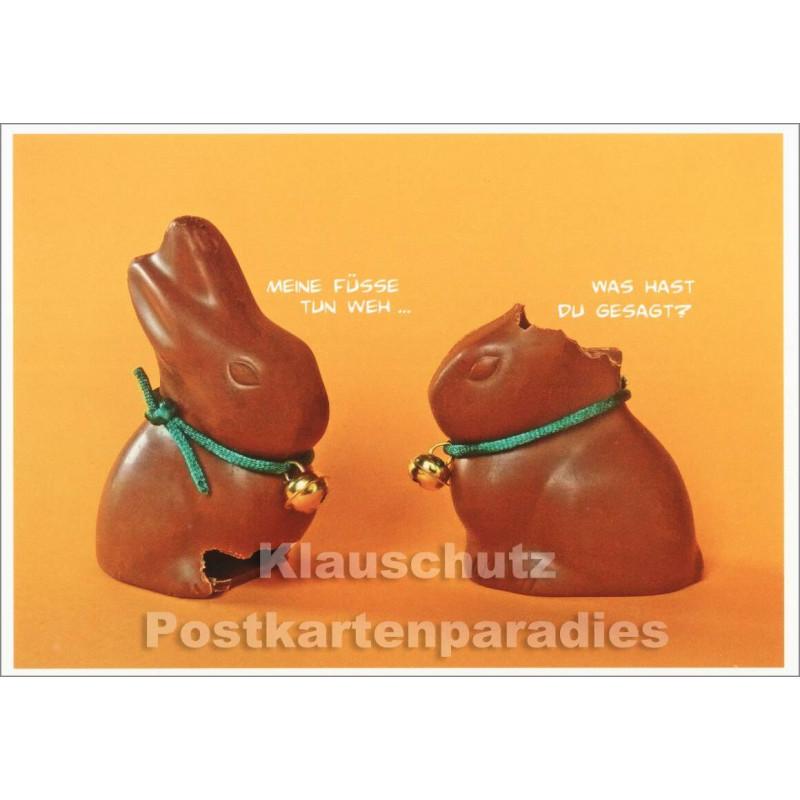 Fotokarte zu Ostern mit zwei Schoko Osterhasen