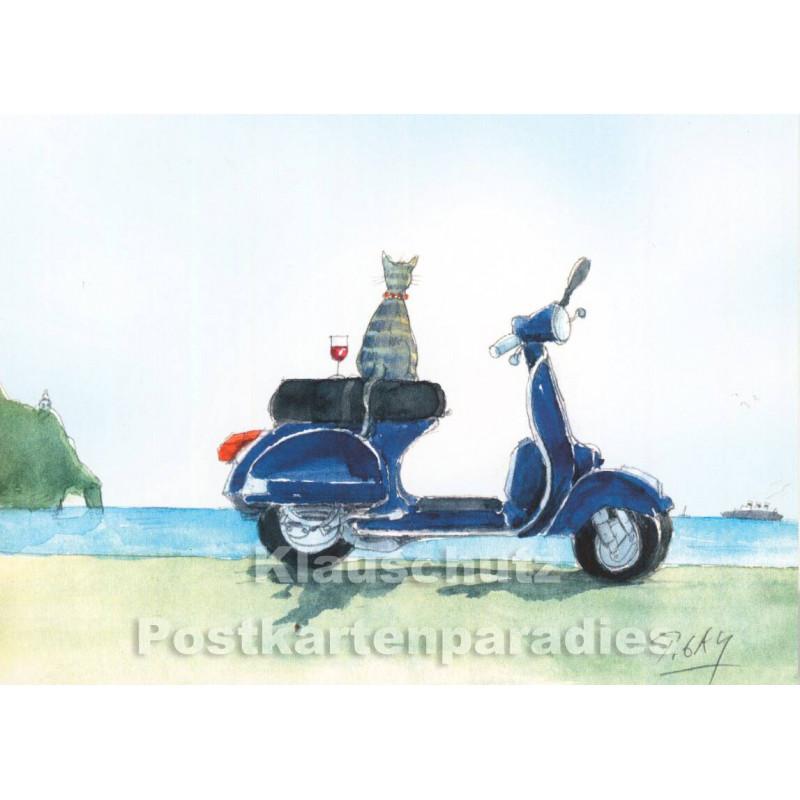 Peter Gaymann Postkarte mit Katze, Weinglas und blauem Roller