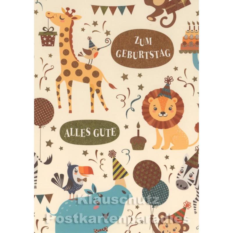 Geburtstagskarte für Kinder mit lustigen Tieren