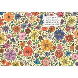 Wimmelbild Postkarte mit Blumen und Schnecke