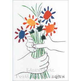 Kunst Doppelkarte  Pablo Picasso - Le Bouqet / Der Blumenstrauß
