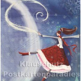 Frau und Eisblumen | Quadratische Postkarte