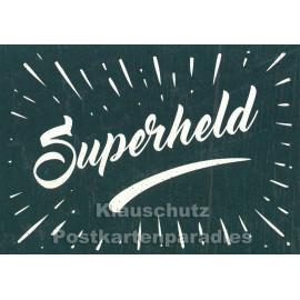 Superheld Retro Postkarte