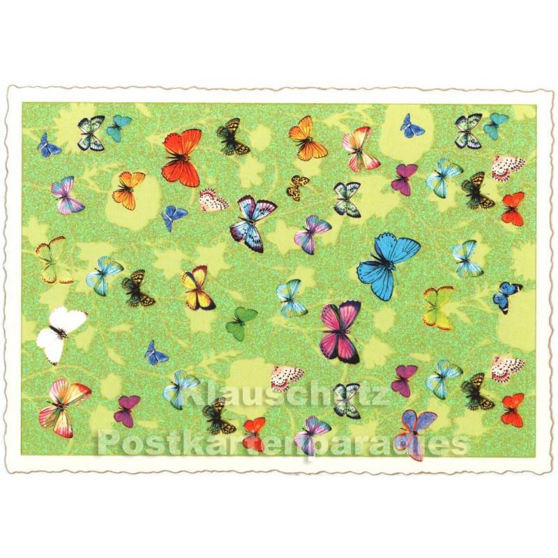 Retro Glitterkarte Schmetterlinge