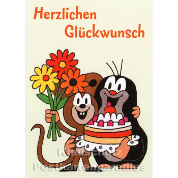 Postkarte Maulwurf | Herzlichen Glückwunsch