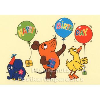 Maus und Elefant | Happy Birthday | Geburtstagskarte