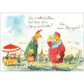 Gaymann Hühner Postkarte | Therapeut verlassen