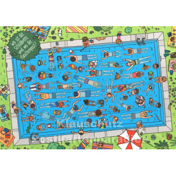 Wimmelbild Postkarte von Skowronski und Koch - Schwimmbad